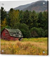 Old Red Barn In The Adirondacks Acrylic Print by Nancy De Flon