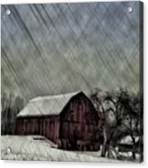 Old Red Barn In Winter Acrylic Print