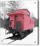 Old Red Caboose Square Acrylic Print