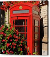 Old Red Telephone Box Or Booth Surrounded By Red Flowers In Toro Acrylic Print