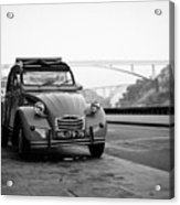 Old Retro Car Citroen On The Street Acrylic Print