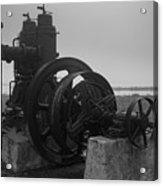 Old Rice Field Pump Bw Acrylic Print