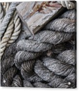 Old Ropes On Dock Acrylic Print