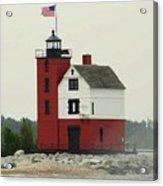 Old Round Island Point Lighthouse Michigan Acrylic Print