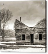 Old Rustic Log Cabin In The Snow Acrylic Print by Dustin K Ryan