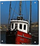 Old Rustic Red Fishing Boat Acrylic Print