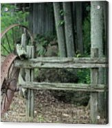 Old Rusty Wagon Wheels And Weathered Fence Acrylic Print