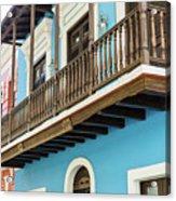 Old San Juan Houses In Historic Street In Puerto Rico Acrylic Print