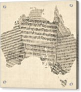 Old Sheet Music Map Of Australia Map Acrylic Print by Michael Tompsett