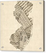 Old Sheet Music Map Of New Jersey Acrylic Print
