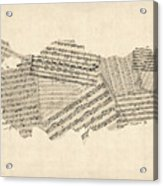 Old Sheet Music Map Of Turkey Map Acrylic Print