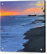 Old Shipwreck At Sunset - St Lucia Acrylic Print