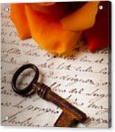Old Skeleton Key On Letter Acrylic Print