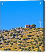 Old Stone Church And Green Energy Plant Acrylic Print