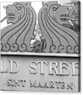 Old Street Sint Maarten In Sepia Acrylic Print
