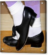 Old Tap Dance Shoes With White Socks And Wooden Floor Acrylic Print