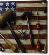 Old Tools On Wooden Flag Acrylic Print