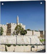 Old Town Citadel Walls Of Jerusalem Israel Acrylic Print