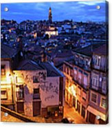 Old Town Of Porto In Portugal At Dusk Acrylic Print