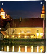 Old Town Of Ptuj Evening Riverfront View Acrylic Print