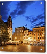 Old Town Square By Night In Torun Acrylic Print