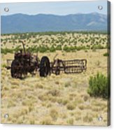 Old Tractor And Rake In New Mexico Acrylic Print