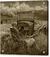 Old Truck Abandoned In The Grass In Sepia Tone Acrylic Print
