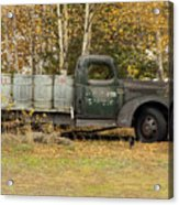 Old Truck With Potato Barrels Acrylic Print
