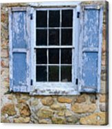 Old Village Window With Blue Shutters Acrylic Print