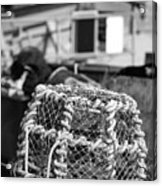 Old Vintage Hand Made Rope Lobster Pot Used In Fishing Industry Acrylic Print
