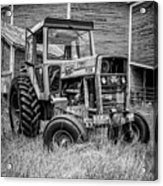Old Vintage Tractor On A Farm In New Hampshire Square Acrylic Print