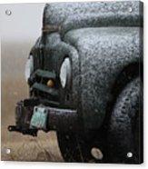 Old Vintage Truck In Winter Storm Saskatchewan Acrylic Print