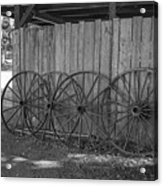 Old Wagon Wheels Black And White Acrylic Print