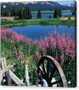 Old Wheel And Brooks Lake Acrylic Print by Kathy Yates