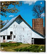 Old White Barn With Treed Silo Acrylic Print