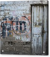 Old White Door In A Wall Acrylic Print