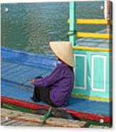 Old Woman On A Colorful River Boat Acrylic Print