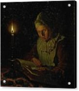 Old Woman Reading, Adriaan Meulemans, 1800 - 1833 Acrylic Print