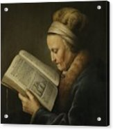 Old Woman Reading Acrylic Print