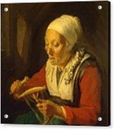 Old Woman Unreeling Threads 1665 Acrylic Print