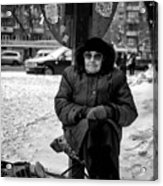 Old Women Selling Woollen Socks On The Street Monochrome Acrylic Print