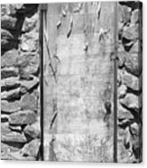 Old Wood Door  And Stone - Vertical Bw Acrylic Print
