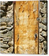 Old Wood Door And Stone - Vertical  Acrylic Print