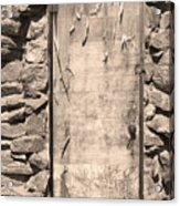 Old Wood Door  And Stone - Vertical Sepia Bw Acrylic Print