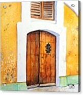 Old Wood Door Arch And Shutters Acrylic Print