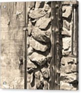 Old Wood Door Window And Stone In Sepia Black And White Acrylic Print
