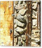 Old Wood Door Window And Stone Acrylic Print