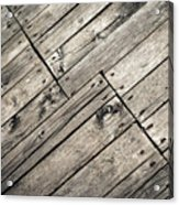 Old Wooden Boards Nailed Acrylic Print
