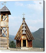 Old Wooden Church And Bell Tower Acrylic Print