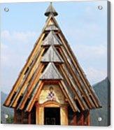 Old Wooden Church On Mountain Acrylic Print